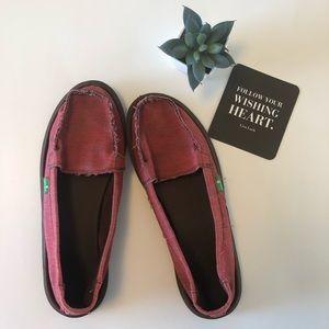 Sanuk red shorty sidewalk surfer slip on shoes